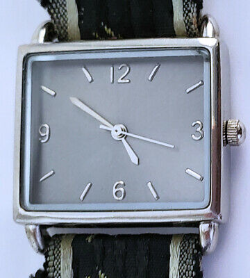 Women's Quartz Analog Watch Rectangle 27mm By 24mm Gray Dial Embroidered Strap