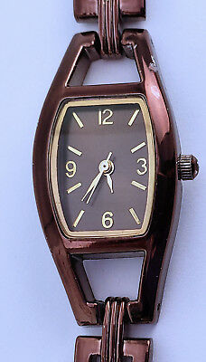 Women's Bronze Rect Fossil Made Quartz Watch 19mm Satin Finish Dial 6½ Bracelet