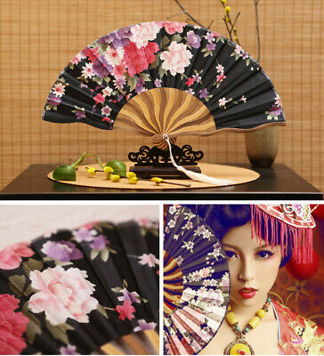New Chinese Style Hand Held Fan Bamboo Paper Folding Fan Party Wedding Decor US