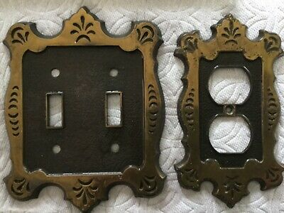Vintage NATIONAL LOCK Brass 1-Gang Plug Plate & 2 Switch Wall Plate BOTH 1970s