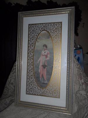Antique LG.Ornate Gilt Wood Italian Florentine Framed Victorian Lady Wall Print