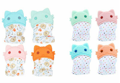 Cute Baby Molar Glove Silicone Teething Mitten Hand Wrapper Sound Toys Teether