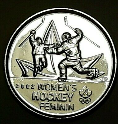 2009 CANADA 25 Cent Women's Hockey Regular BU Quarter From Mint Roll UNC