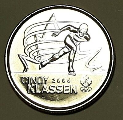 2009 CANADA 25 Cent Cindy Klassen Regular BU Quarter From Mint Roll UNC