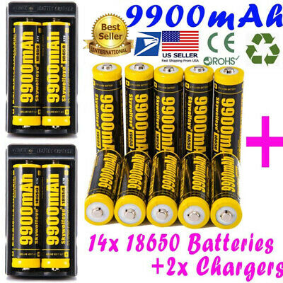 9900mAh 10Pcs Powerful 18650 Battery Li-ion 3.7v Rechargeable Battery + Charger