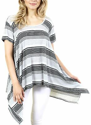 Fashion House La Women's Striped Short Sleeve Top With Draped Look White