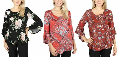 Fashion House La Women's Floral Bell-Sleeve Top