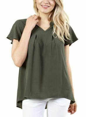 Fashion House La Women's Olive Frill Short Sleeve Pleated V-Neck Blouse Top