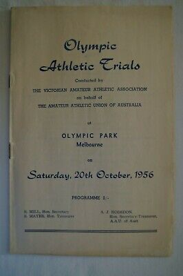 Olympic Games Collectable 1956 Melbourne Vintage Athletic Trials Programme