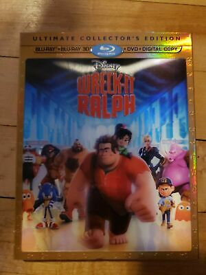 Disney Wreck-It Ralph (3D/Blu-ray/DVD, 2013, 4-Disc Set)  with RARE SLIPCOVER