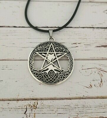 Pentagram pentacle tree of life necklace witch wiccan pagan occult alternative