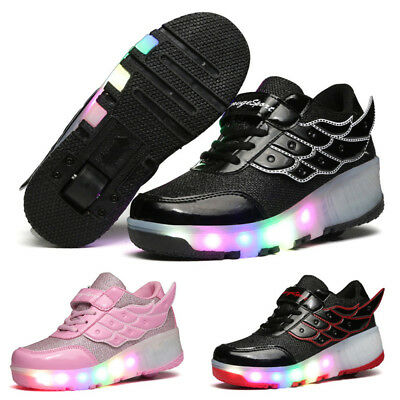 Cool Student LED RGB Lace Up Luminous Boys Girls Wings Heelys Roller Skate Shoes