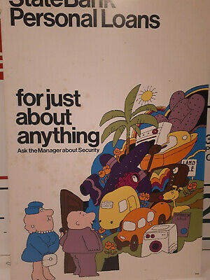 Vintage RETRO 70s State bank of Victoria Branch Advertising Cardboard Poster