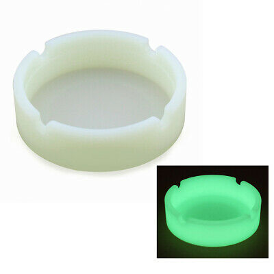 Glow In The Dark Silicone Soft Round Ashtray For Smoking Cigarette Cigar Office