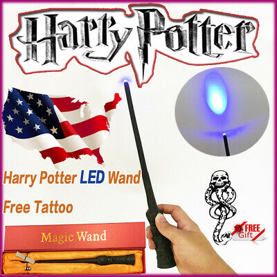 """14"""" Wizard Harry Potter LED Magic Wand Deathly Hallows Hogwarts Tattoo in Box"""