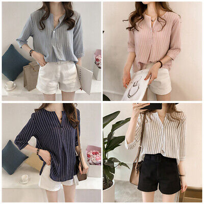 Women Fashion Stripedr Blouse Casual Blue Round Neck Seven Sleeve hot
