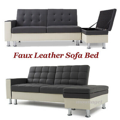 Faux Leather 3 Seater Sofa Bed with Storage & Cup Holder Recliner Sofabed Settee