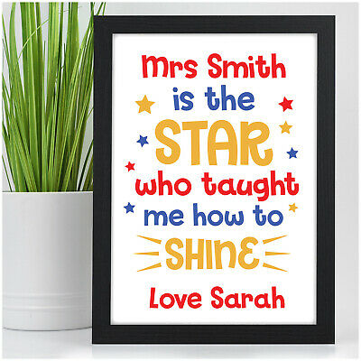 PERSONALISED Star Teacher Assistant Childminder Nursery End of Term Print Gifts
