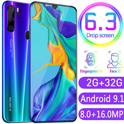 """P35 Pro Smart Phone 6.3"""" HD Full Screen 4800mAh Android 9.1 Face ID Mobile Phone"""