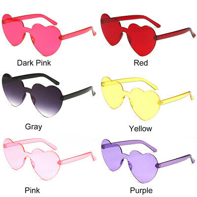 Women Heart-shaped Rimless Sunglasses Frame Anti-UV Candy Color Sun Glasses