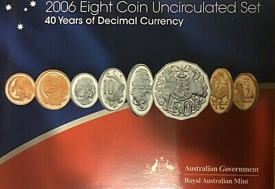 Australian decimal EII 2006 8  coin unciculated set 40 years of decimal currency