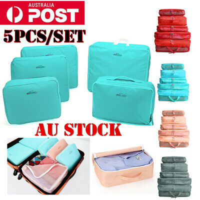 5 Packs Clothes Pouch Packing Cube Storage Travel Luggage Suitcase Organizer Bag
