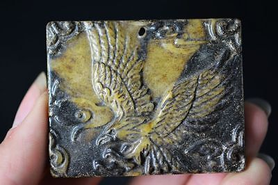 Delicate Chinese Old Jade hand-Carved *Eagle* lucky Pendant   A5