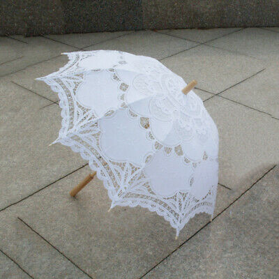 1X(80cm Victorian Lace Embroidery Wedding Umbrella Bridal Parasol, white X8Z7)