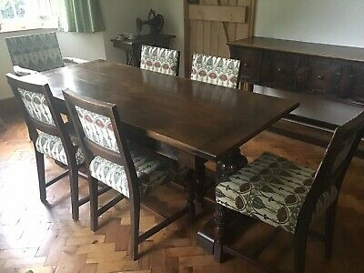 Solid Oak Dining Table, 6 Chairs, and Sideboard