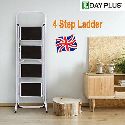Steel Folding 4 Step Tread Ladder Heavy Duty 330 Lbs Capacity Chairs Ladders