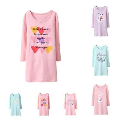 Girls Nightdress Nightie kid Pyjamas Cotton Long sleeve Nightwear Age 2-10 Years