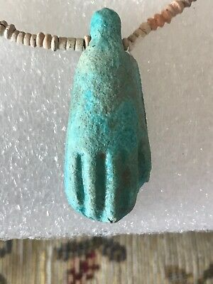 Ancient Egyptian Sekhmet Glazed Hand Amulet With Faience Bead Necklace 600-300Bc