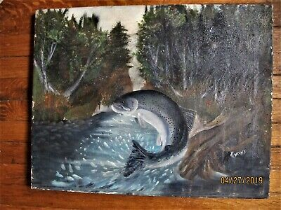 """""""Fly Fishing' , Upstate Ny. Ca1920 Art Signed,  Evens, Ca. 1950S Well Executed"""