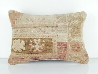 Oushak Ushak Rug Cushion Cover  Muted Color Low Pile Sofa Bed Pillow 14''x20''
