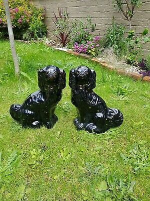 Rare Pair Of Antique Vintage Staffordshire Black & Gold Ceramic Fireside Dogs.