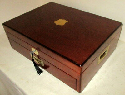 HANDSOME LARGER SIZE ANTIQUE MAHOGANY & BRASS COLLECTORS/DOCUMENT BOX with key