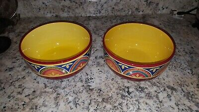 """2 Pier 1 Mexicali Ironstone 6"""" CEREAL OR SOUP BOWLS -"""