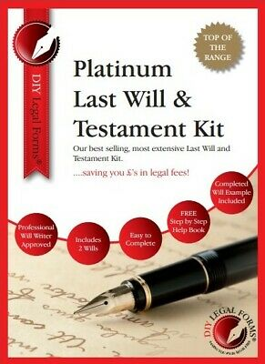Last Will And Testament Kit Uk 2019-20 Platinum Edition. Top Of The Range.