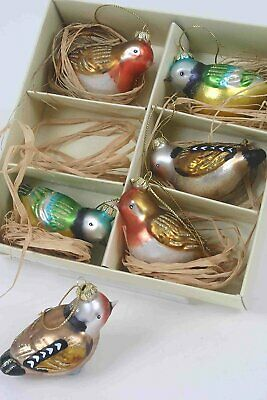 Set 6 Boxed Vintage Style Glass Birds Christmas Tree Decorations Baubles
