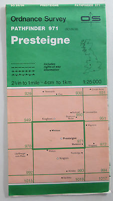 1988 Old OS Ordnance Survey 1:25000 Pathfinder Map 971 Presteigne SO 26/36