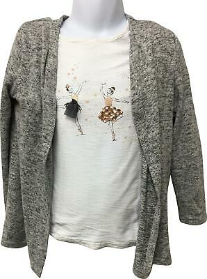 Girls Primark White Top Pattern & Grey Cardigan Set Size 4-5 Yrs EK214
