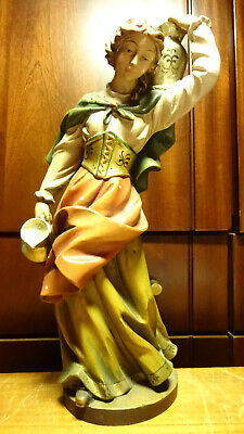 "Vintage 12"" Wooden Hand Carved Woman Girl Water Bearer Statue Figurine Gift"