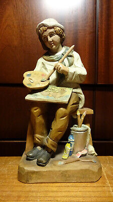 "Vintage 8"" Wooden Hand Carved Man Boy Painting Painter Artist Statue Figurine"