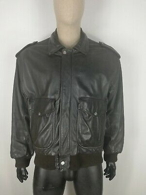 AIR FORCE PELLE LEATHER Cappotto Giubbotto Jacket Coat Giacca Tg 54 Uomo C