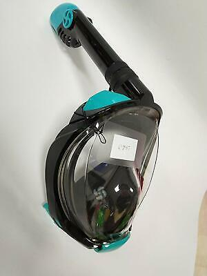 Dual-Snorkel Full Face Snorkeling Mask,180 Panoramic View w/Camera Mount L/XL