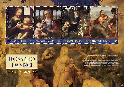 Marshall Islands 2019 MNH Leonardo Da Vinci Madonna 4v M/S Art Paintings Stamps