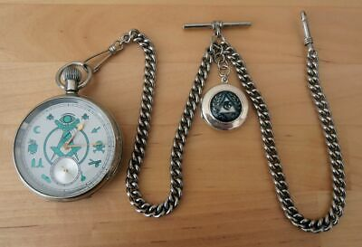 VINTAGE MASONIC POCKET WATCH in F.W.O WITH CHAIN & FOB ..