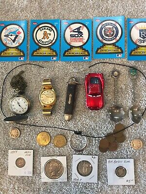 Junk Drawer Lot #2  Peace Dollar Vintage Silver Coins Pocket Watch Knife