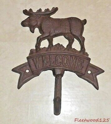 "Cast Iron Moose Elk Welcome Hook Wall Hanging - 7.75"" x 6.5"" / Coat Hat"