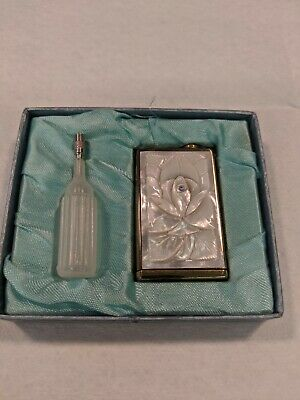 Flower Brass Atomizer Perfume Sprayer Mother Of Pearl Vintage Antique Bottle